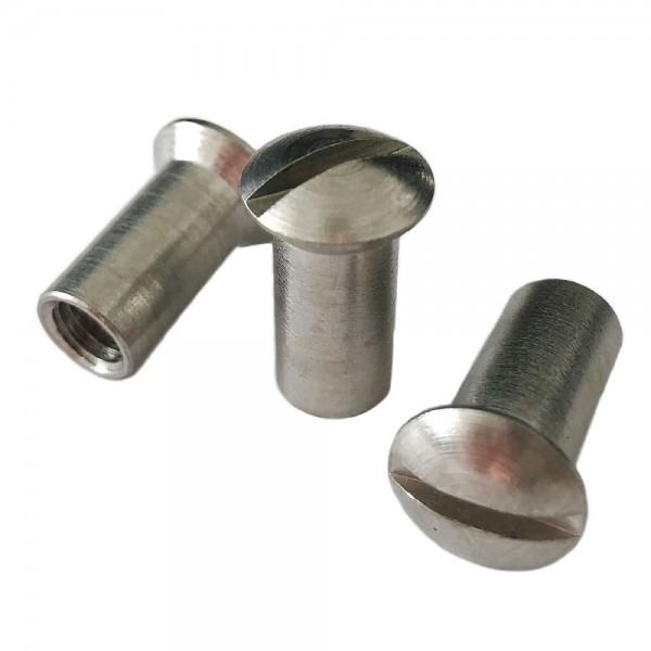 Hülsenmuttern M5 x 15 mm Edelstahl, Linsenkopf mit Schlitz - 100 Stück