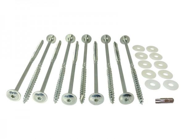 Schraubheringe 10 x 200 mm - Set mit Scheiben und Bit - 10 Stück