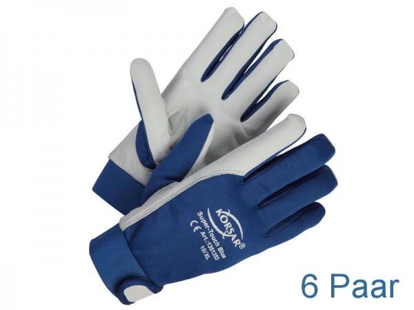 Mechaniker-Handschuhe Leder - KORSAR® Super-Touch Größe 9 / L - 6 Paar