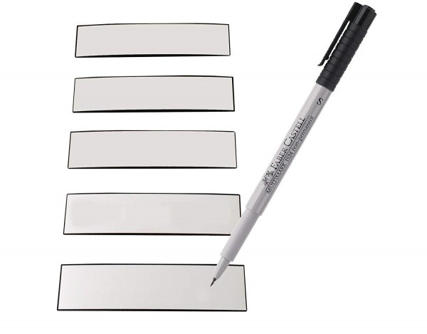 Magnetstreifen weiss 100 x 50 mm - beschreibbar inkl. Stift - 25 Stück