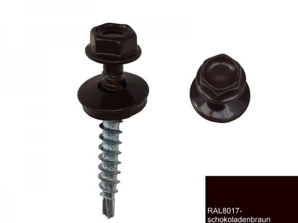 Fassadenschrauben 4,8 x 35 mm, RAL 8017 schokobraun - 100 Stück