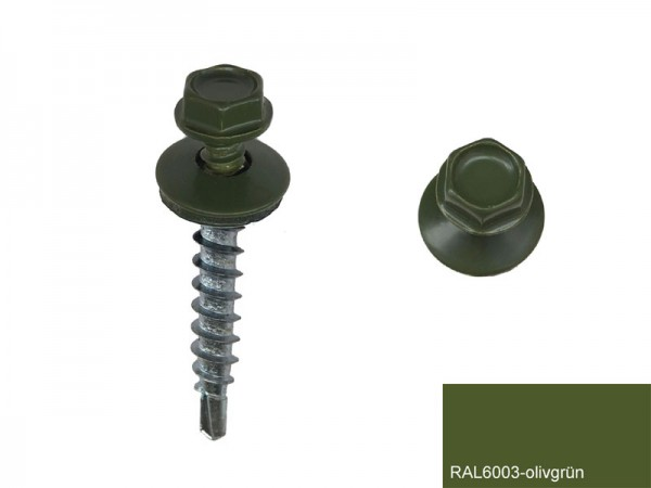 Fassadenschrauben 4,8 x 25 mm, RAL 6003 olivgrün - 100 Stück
