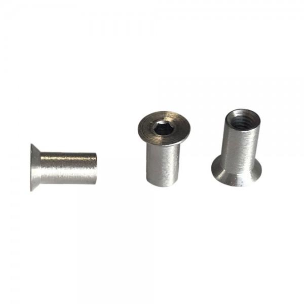 Hülsenmuttern M6 x 16 mm, Senkkopf mit Innensechskant, Edelstahl - 100 Stück
