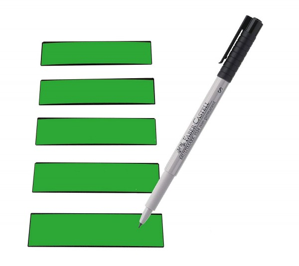 Magnetstreifen grün 100 x 30 mm - beschreibbar inkl. Stift - 25 Stück