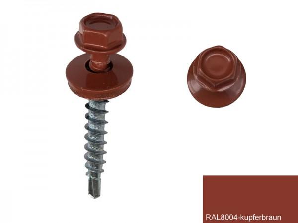 Fassadenschrauben 4,8 x 35 mm, RAL 8004 kupferbraun - 100 Stück