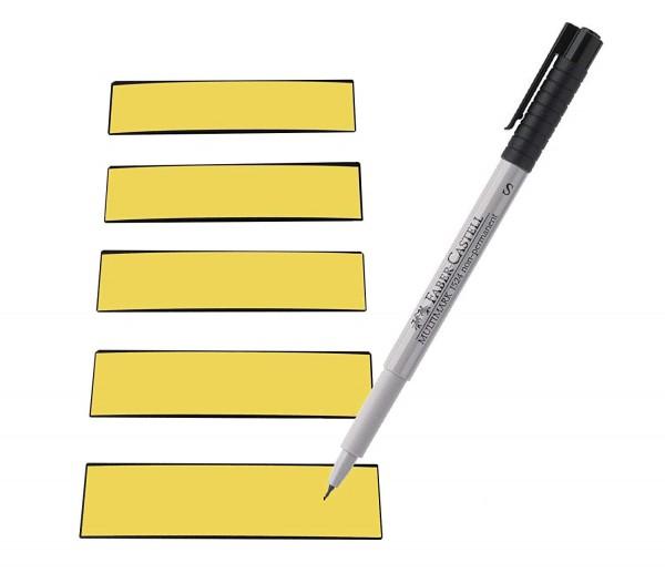 Magnetstreifen gelb 100 x 30 mm - beschreibbar inkl. Stift - 25 Stück