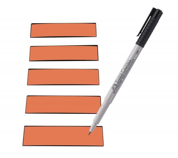 Magnetstreifen orange 100 x 30 mm - beschreibbar inkl. Stift - 25 Stück