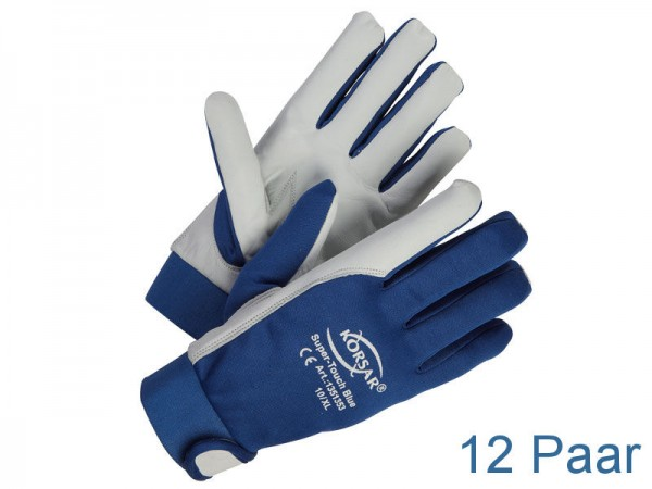 Mechaniker-Handschuhe Leder - KORSAR® Super-Touch Größe 10 / XL - 12 Paar
