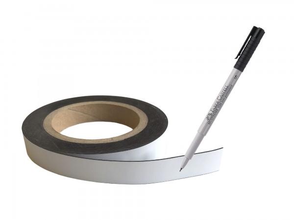 Magnetband Rolle weiss beschreibbar inkl. Stift - 19 mm x 5 m - 1 Set