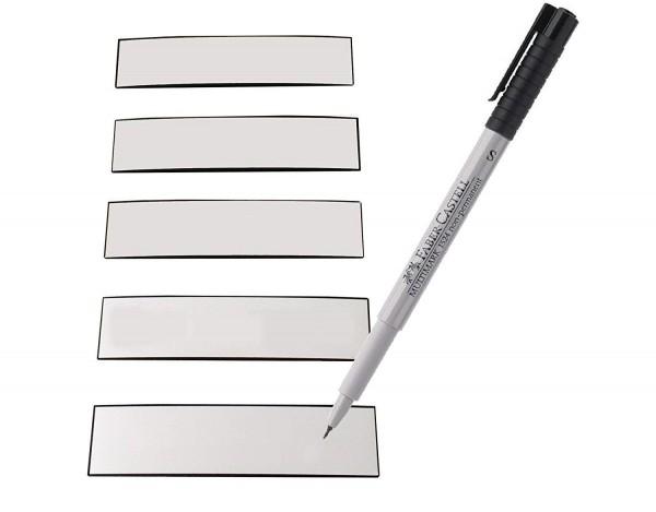 Magnetstreifen weiss 83 x 19 mm - beschreibbar inkl. Stift - 50 Stück